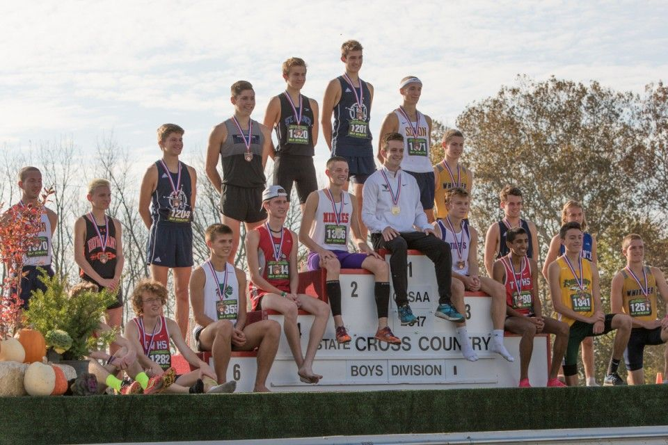 State Champion Dustin Horter of Lakota East (##1364 sitting in center above #1) 15:03.5